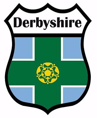 2 x Derby Derbyshire Flag Decal Car Motorbike Laptop Window Sticker - Free P & P