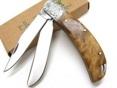 ELK RIDGE Burl Wood 2 Blade STAINLESS Steel Folding POCKET Knife New!  ER-552BW