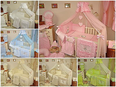 LOVELY 16 pcs BABY BEDDING SET/BUMPER/DRAPE/HOLDER to fit COT or COT BED/COTBED