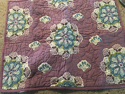 Pottery Barn Kids Brooklyn Paisley Quilted Standard Sham Purple NEW NO TAGS