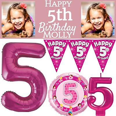 Pink Age 5 Girls Happy 5th Birthday Banner Balloons Confetti Decorations