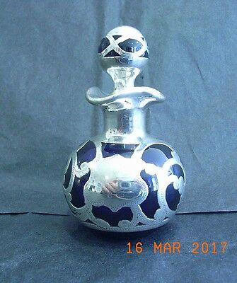 Bristol Blue Silver Overlay Scent Bottle Original with Vacant Cartouche