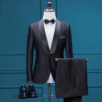 Men Black Business Suits Slim Fit Groom Formal Wedding Suits Tuxedos Custom Made