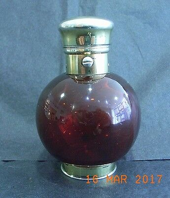 Silver Gilt Sampson Mordan Oval Cranberry Scent Bottle with Sprung Glass Seal
