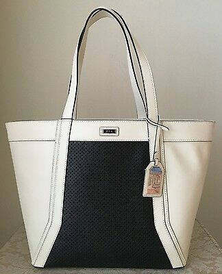 fe1a8a45a4 NWT RALPH LAUREN Warren Vanilla Black White Leather tote BAG PURSE satchel   278