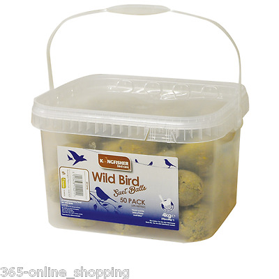 50x FAT SUET BALLS BIRD FEED FAT BALLS (NO NET) WILD BIRD FEEDERS RESEALABLE TUB