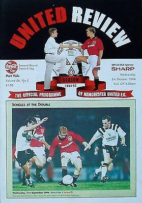 MANCHESTER UNITED v PORT VALE League Cup 2nd Round 2nd Leg 1994/95
