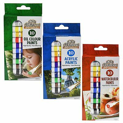 10 x 6ml Mixed Assorted Colour Paint Set Art Craft Tubes Acrylic Oil Water Based