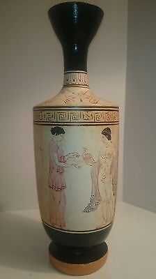 "445 BC Ancient Greece Museum Replica Lekythos Funerary 10"" Oil Jug W/ Naked Man"