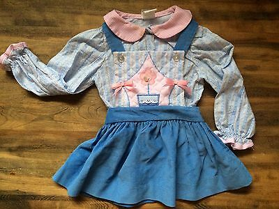 Vintage 2Cute Toddler Girl 2pc Blue/pink Quilted Jumper And Shirt Sz 2T