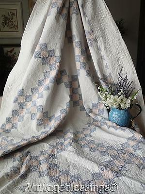 "Large Antique c1920 Irish Chain QUILT Blue Pink White 82""x 81"""