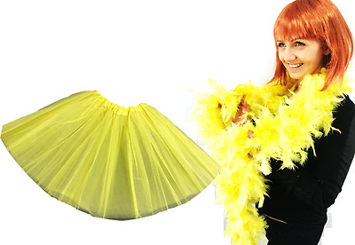 Easter Fancy Dress Costume Set Yellow TUTU & 85G Yellow Feather Boa Luxury Set