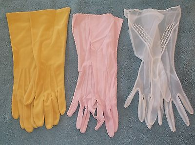 3 Pairs Of Vintage Ladies Womens Long Dress Gloves Gold Pink And Sheer