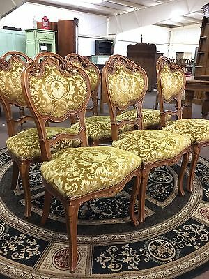 Set Of 6 French Louis XV Style Carved Dining Chairs