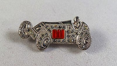 Nice Sterling Silver And Paste Racing Car  Pin /  Badge / Brooch