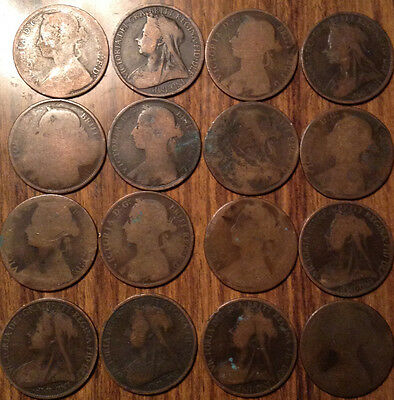Lot Of 16 Uk Gb Great Britain One Penny All Vickies Lot Of 16 Coins !!