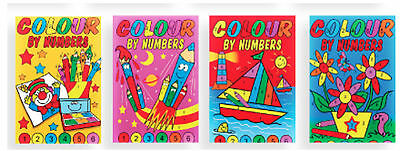 4 x Mini A6 Colour By Numbers Activity Book Kids Party Bag Filler