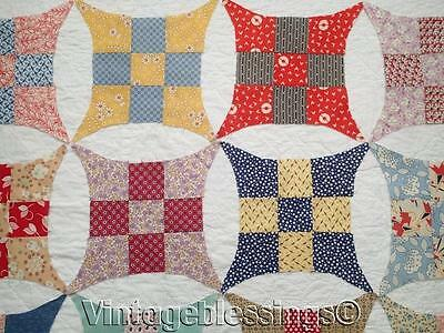 Set of 79 Vintage 30s Improved Nine Patch QUILT BLOCKS Great Fabrics