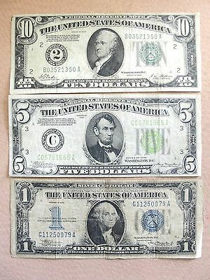 Obsolete currency Lot 1928 $10, 1934 $5, 1934 $1 dollar Funny Back Silver Cert.