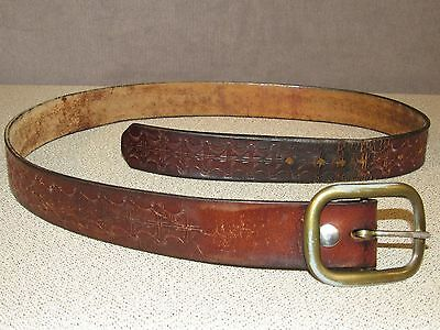 Vintage 1970's Hand Tooled Western Ranch Leather Jeans Belt Size 36