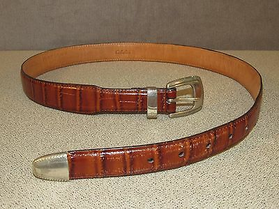 Cabela's Western Ranch Style Brown Leather Jeans Belt Size 36