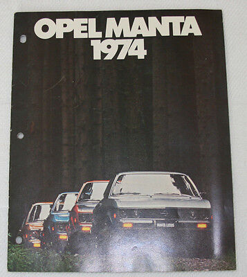 1974 Opel Manta Sales Brochure - 20 Pages - Very Good Condition