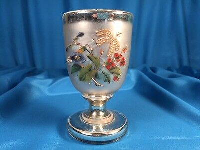 Antique Mercury Glass Chalice With Handpainted Design & Applied Beading, Lovely!