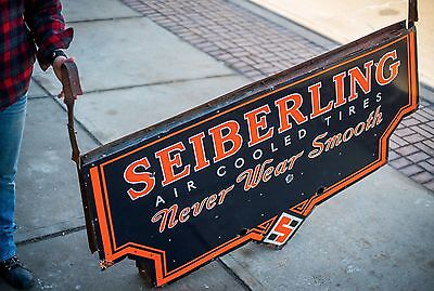 Original Seiberling Tires Porcelain Gas Oil Neon Sign