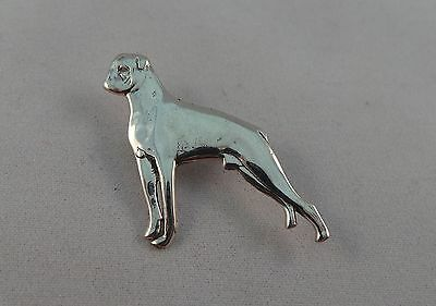 Nice Sterling Silver Boxer Type Dog  Pin / Badge