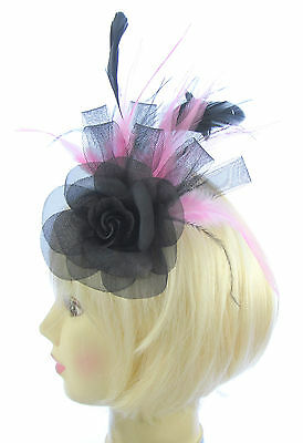 Fascinator Black & Baby Pink feathers for weddings,Ascot , ladies day