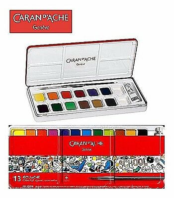 Caran d'Ache Gouache Watercolour 13 Pan Metal Tin Set For School Colour Mixing