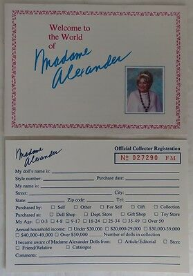 Vintage Madame Alexander Doll Club And Registration Card Set          (Inv12882)