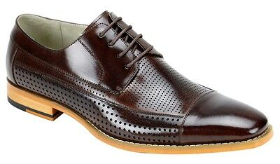 Men's Dress Shoes Chocolate Brown Cap Toe Oxford Leather Lace Up GIOVANNI DIEGO