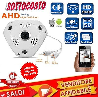 Telecamera Ip Vr Camera Wi Fi 360 Led Infrarossi Sensore Movimento Panoramica