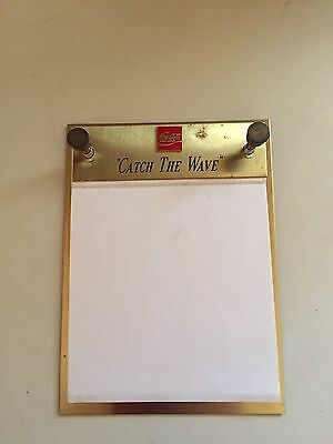 Coca Cola Coke Metal WALL HANGING MEMO NOTE PAD HOLDER W/ Some Paper