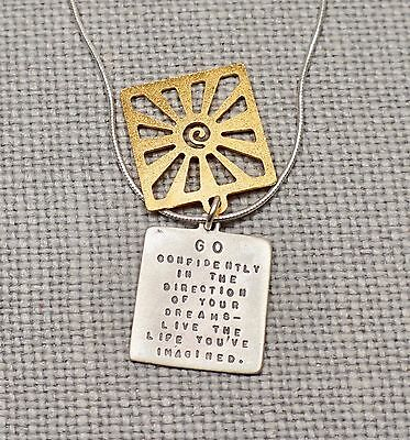 Vintage Kathy Bransfield Sterling Silver 22K Yellow Gold over Brass William James Friends Make World Tree of Life Double Pendant