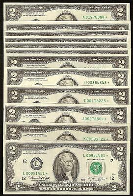 COMPLETE STAR DISTRICT SET 1976 $2 DOLLAR BILLS 12 STAR NOTES FRNs UNCIRCULATED