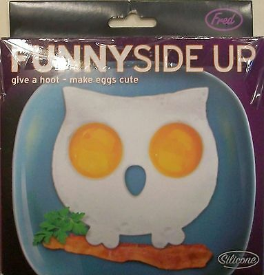 Fred Funny Side Up Owl Shape Novelty Egg Shaper Silicone New