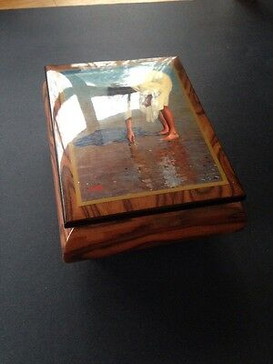 """Wood Music Jewellery Italy Box Hand Painted Limited Ed. Ercolano """"Finding Shells"""
