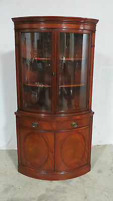 Drexel Bowfront Curved Glass China Cabinet Mahogany