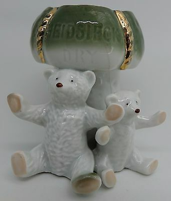 Rare Double Pink Paw Bears Heidsieck Champagne Advertising Toothpick Holder Vase
