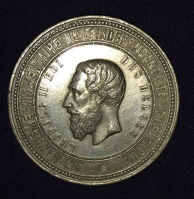 BELGIUM; 1880 Bronze Medal. Leopold II. Exposition Nationale.