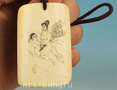 Chinese Old no plastic Collection Handmade Carved Belle Statue Pendant