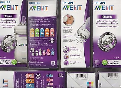Philips AVENT 1m+ Natural Nipple Shape 9 oz Baby Bottle Anti-Colic BPA-free NEW!