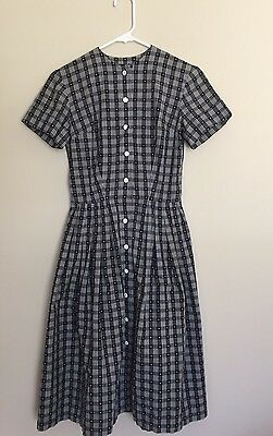 Vintage 1950s Dress Black & White Plaid Fit & Day Dress Pinup Rockabilly