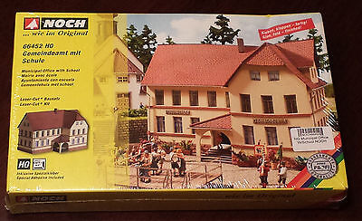HO Noch 66452 Municipal Office With School Kit - No Painting Reqd,Includes Glue!