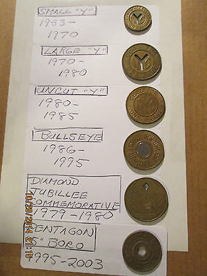 nyc subway tokens COMPLETE SET OF SIX 1953 - 2003!
