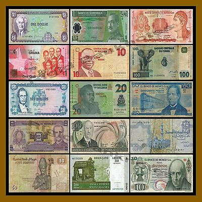 15 Pcs of World Mix Africa & South American Banknotes Currency Lot, Circulated