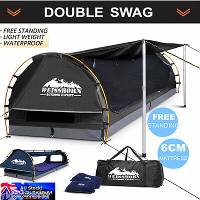 Weisshorn DOUBLE Camping Swags Canvas Free Standing Dome Tent Bag Aluminium Pole