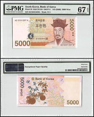 South Korea 5,000 (5000) Won, ND 2006, P-55, UNC, Yi I, PMG 67 EPQ